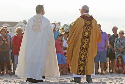Pastor Rev. Fthr. Douglas Freer [left] and Father Joe Hlubk  The Blessing of the Sea in Lavallette, NJ on 8/15/19. [DANIELLA HEMINGHAUS]