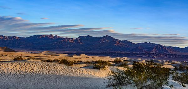 Sun rising at Mesquite Flats Sand Dunes