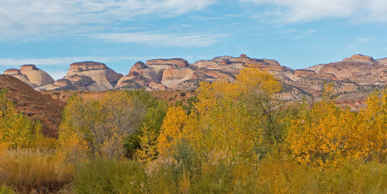 A morning view from camp, looking west to the domes of Capitol Reef.