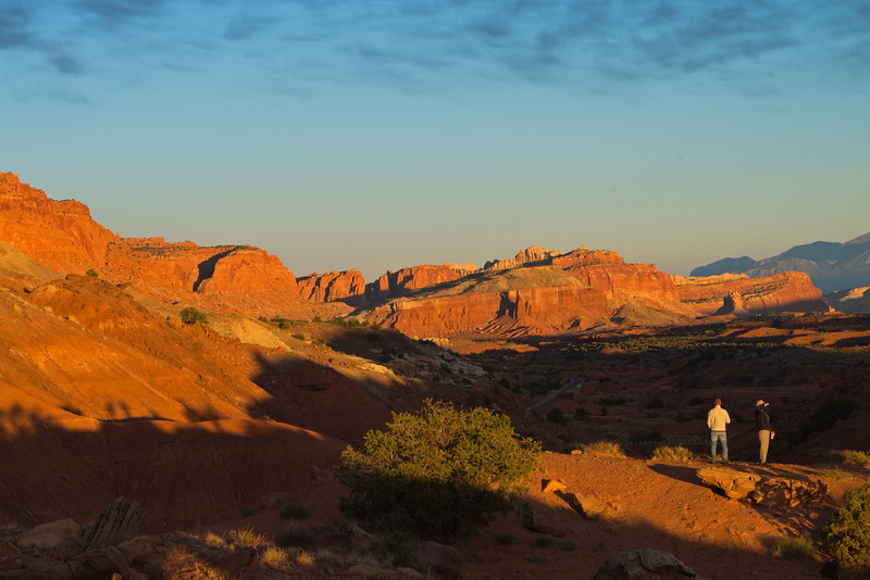 Evening campsite view of Capitol Reef.
