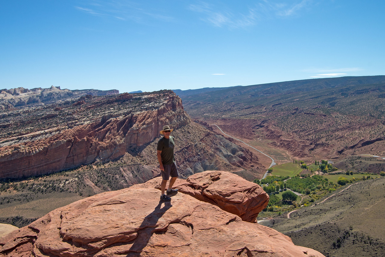 At the Fruita overlook along the Navaho Knobs trail in Capitol Reef.