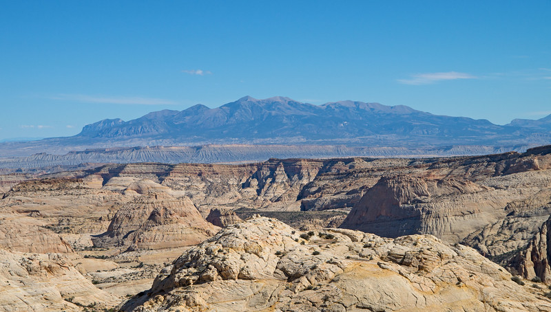 The sandstone plateau surrounding the fin offered some great views- here of the distant  Henry Mountains.