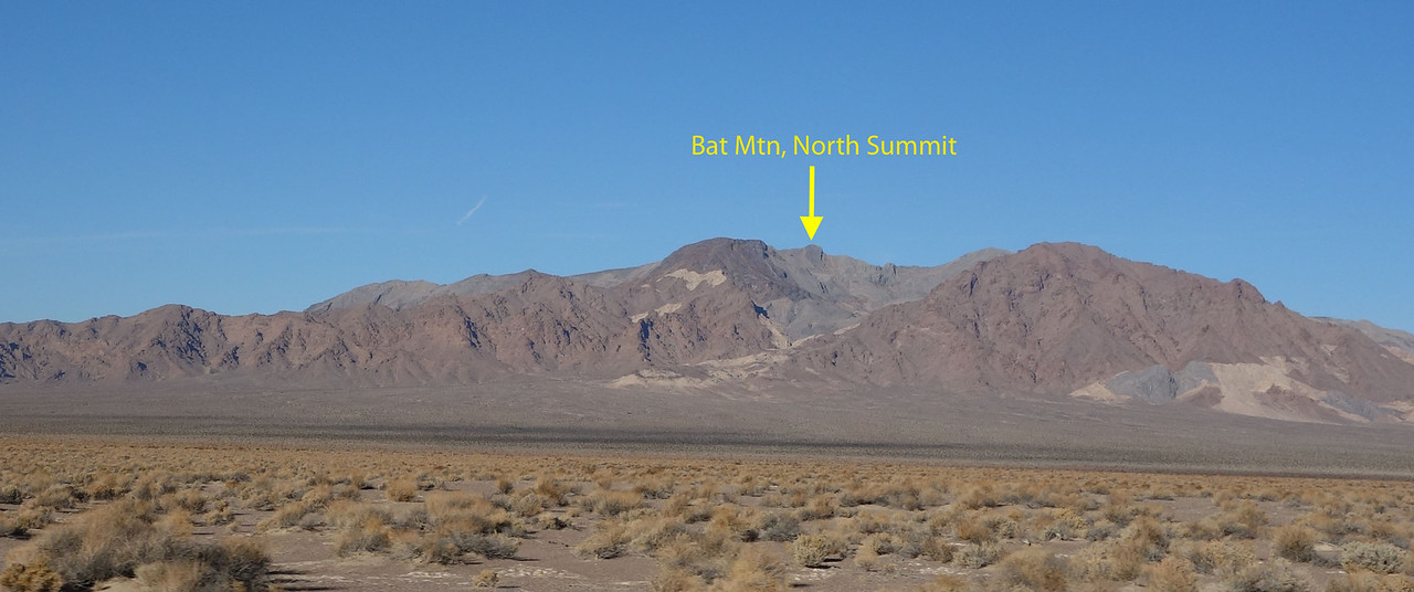"For years I drove by Bat Mtn looking for the ""bat"".  Surely the peak must look like a bat.  Last year, while on Eagle Peak, I looked NW and the lightbulb went on... THERE it is... the bat is the white rock on the south slope... NOT the shape of the peak."