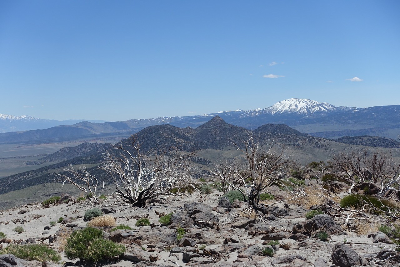 View south from the summit of Cowtrack (aka Horse) Mountain.  Glass Mountain and Glass Mountain in distance