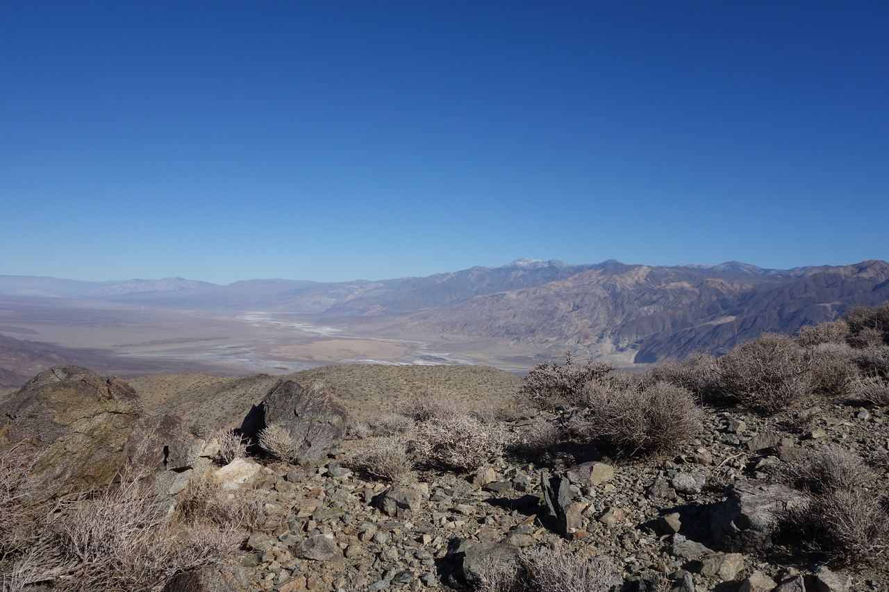 View north into Panamint Valley.  Snowy Telescope Peak in distance.