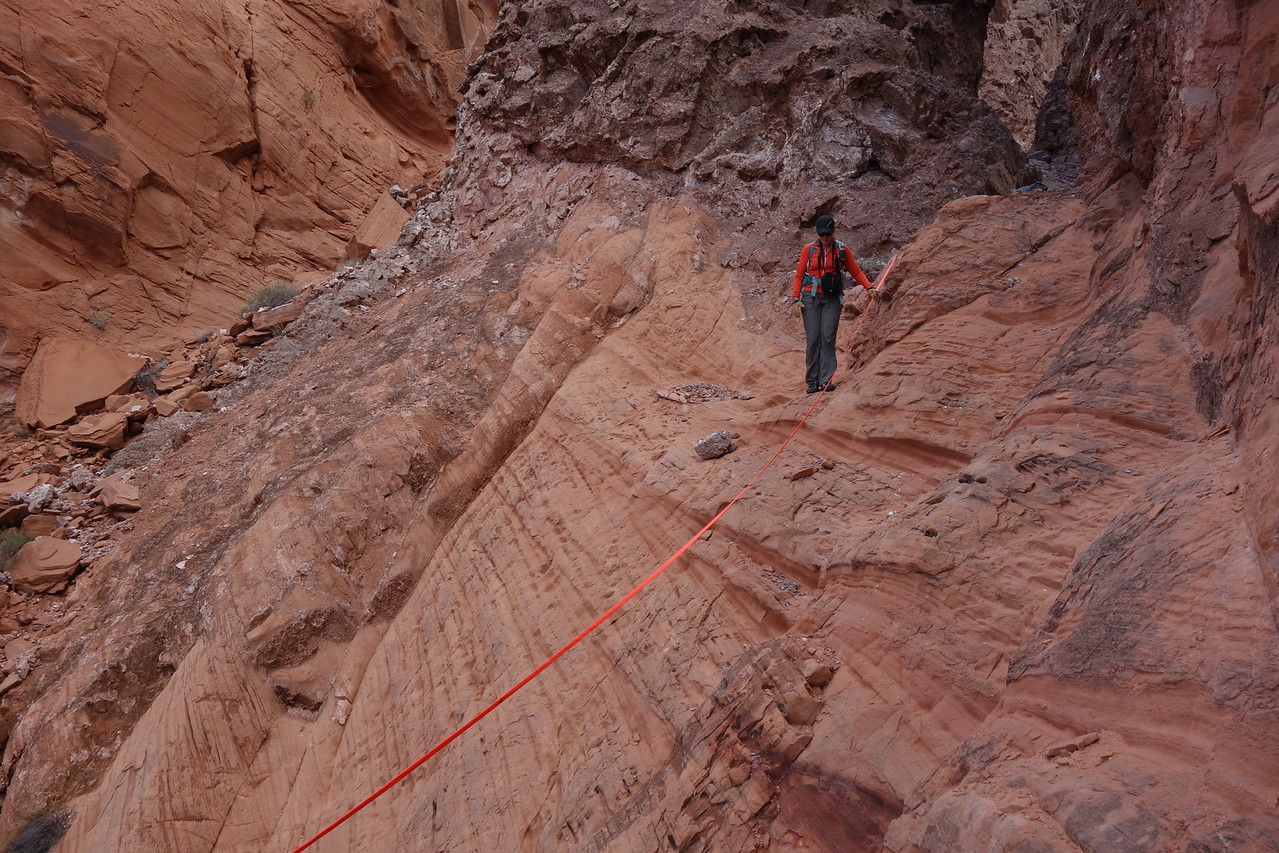 Harlan brought a handline which came in handy while descending this dry fall area