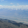 Owens Valley below.  Snow capped Palisades (sierras) out yonder.