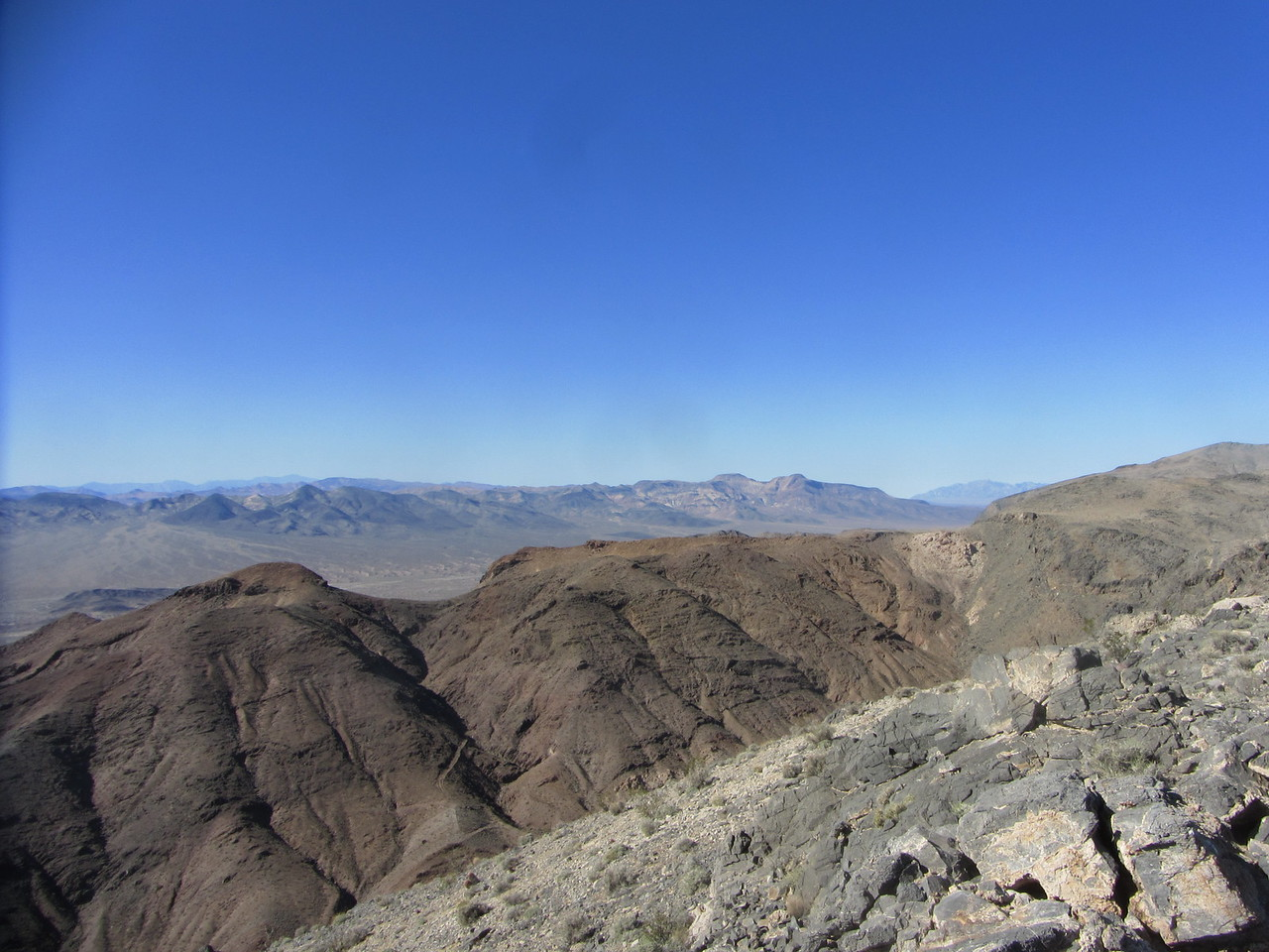 View NW.  Tomorrow's destination, Brown (Evelyn) Peak is the left bump of 2 bumps in distance across Armagosa Valley.