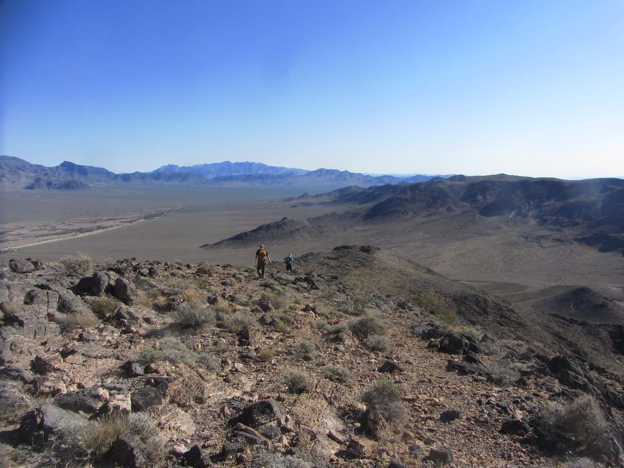Heading back down the open ridge