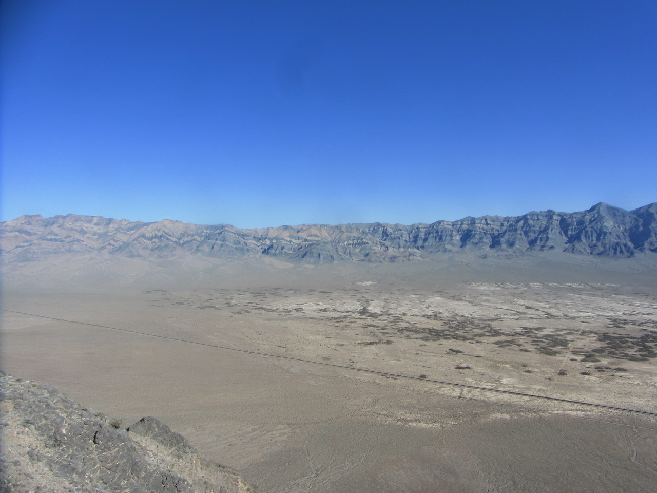 View NE; Pahrump Point far L, Nopah is pointy one on far R. Chicago Valley below