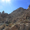 "View of Spectre Peak from the saddle.  At this point, we both thought, ""You've got to be kidding"".  Solid boulder field."