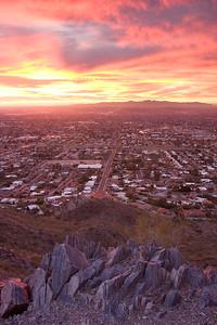 Fiery Sunset Over West Phoenix, Vertical
