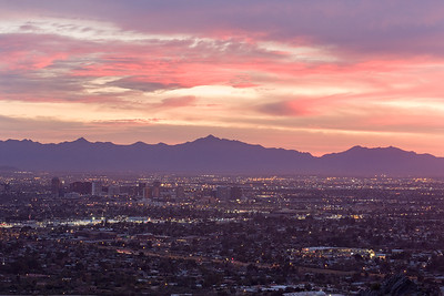 Sunset, South Mountain and Downtown Phoenix