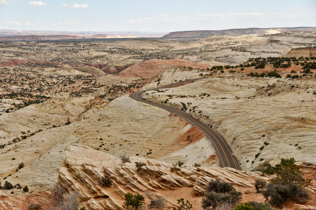 """Highway 12 East, Utah, also known as the  """"Million Dollar Road to Boulder."""" This section of Scenic Byway 12 was built by the Civilian Conservation Corps and completed in 1935 (paved in 1971) providing the first year round access for cars to this isolated part of Southwestern Utah."""