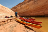 Our kayaks moored at the end of Labyrinth Canyon