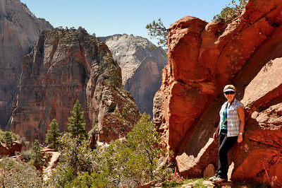 Looking across to the trail to Angel's Landing from Scouts Lookout, Zion National Park, Utah
