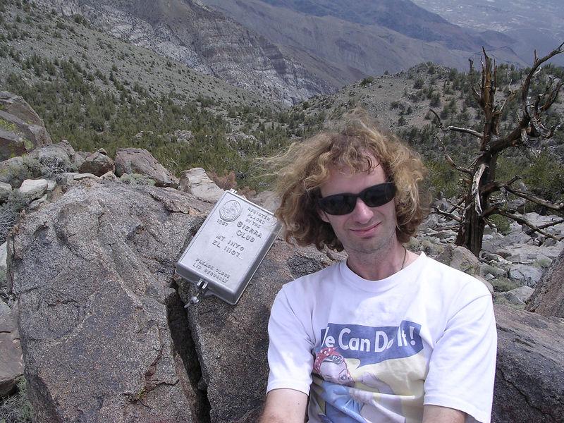 David and summit marker.