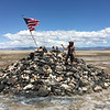May 1, 2016  Travelers Monument on Soda Lake, where we left our rocks from the Colorado River.  Mine was purple, of course!