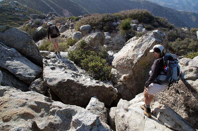 John and Sooz starting the hike down just off the peak.