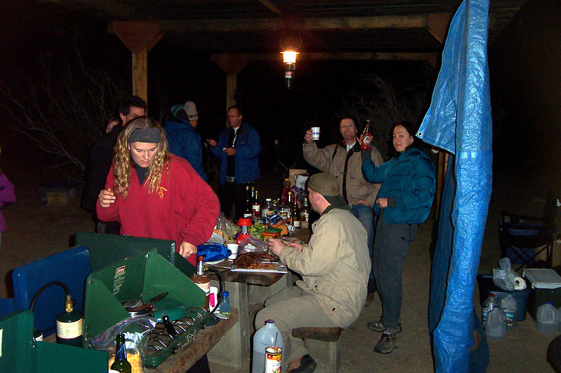 Some of the folks enjoying the pot-luck dinner back at camp.