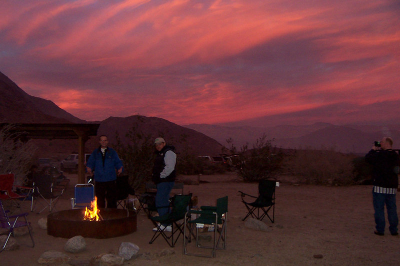Sunset on Thursday night at the Borrego Palm Canyon Campground.