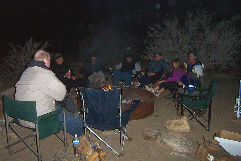 Most of the Thursday night group sitting around the fire. Others arrived the next morning.