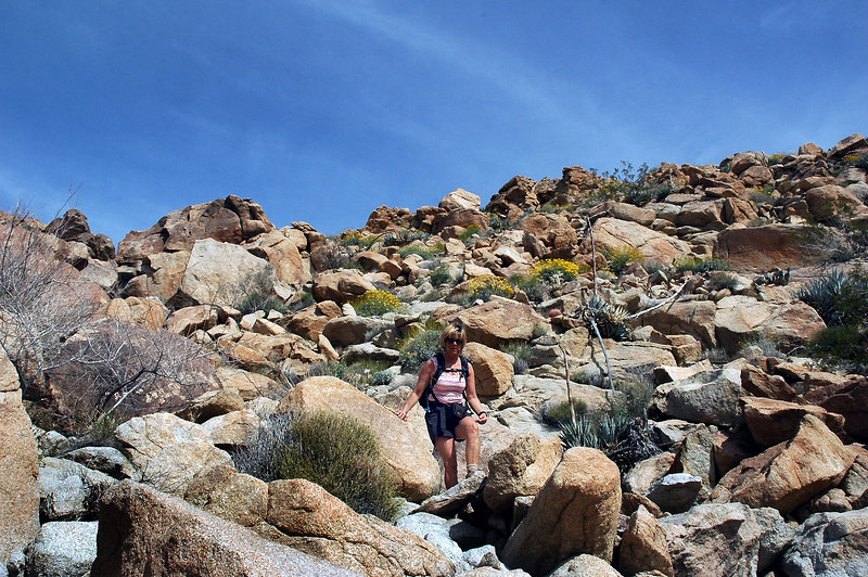 Sooz on the steepest part of the hike down.