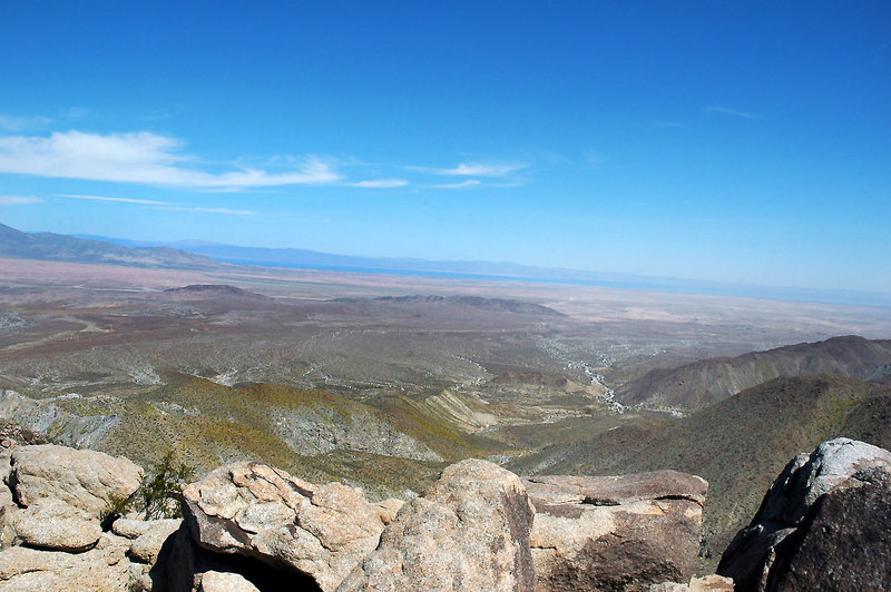 A view from the ridge looking to the northeast at the Salton Sea. We took a short break here.