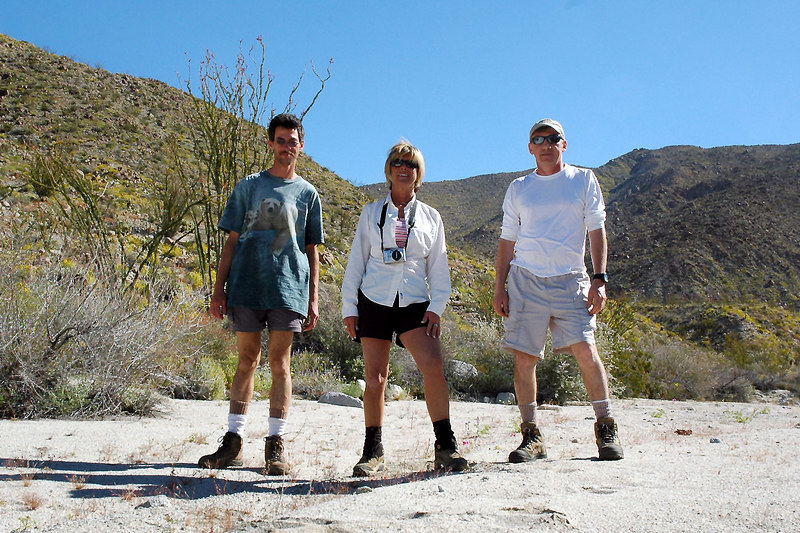 The next morning, Jay, Sooz and me Joe at the start of our hike to Sunset Mountain. The others in the group went off roading.