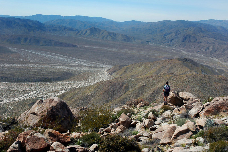 Looking down on Pinyon Wash as we start the hike down.