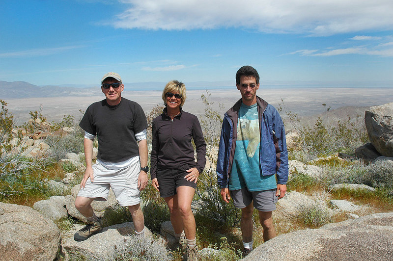 A shot of us on Sunset Mountain 3,657'. The Salton Sea is in the background.