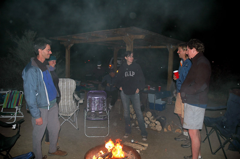Jay, Linda, Megan, Norm and John hanging out around the campfire Friday night.