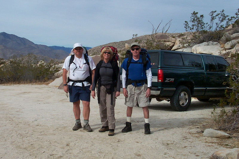 Bruce, Sooz and Joe(me) at the start of our hike at 3,040 feet. There are a couple of ways to hike to Whale Peak. We decided to used the longer route with more gain starting out of Little Blair Valley.
