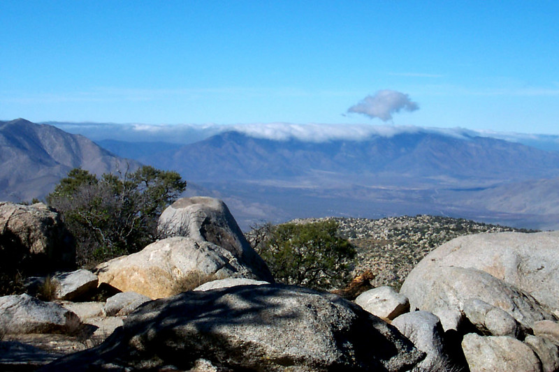 We watched as clouds covered the Palomar Mountains.