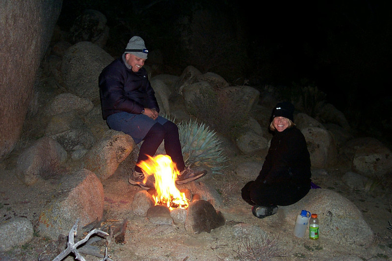 When the sun went down, it got cold fast. We had a small fire going to stay warm. We got lucky in that the Geminids meteor shower was happening this night. We saw a lot of them, some were really bright and even left trails.