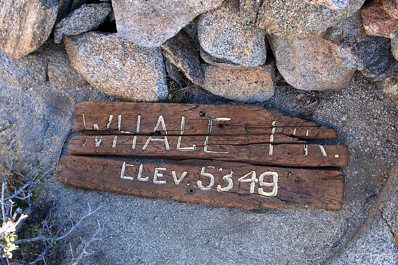 The Whale Peak sign.