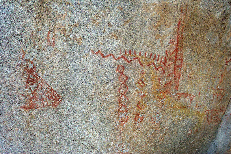 Close up of some the pictographs.