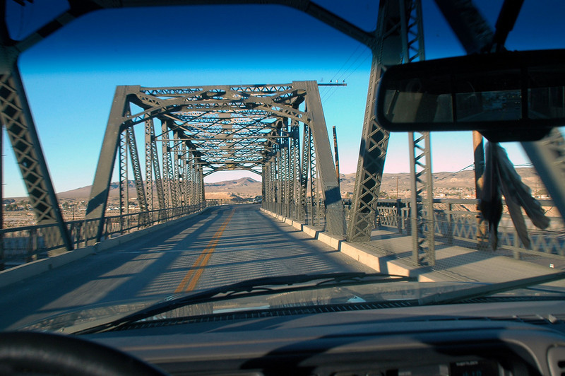 Crossing a bridge north of Barstow. Going to met Sooz, Chip and Robin for a hike to Black Mountain.