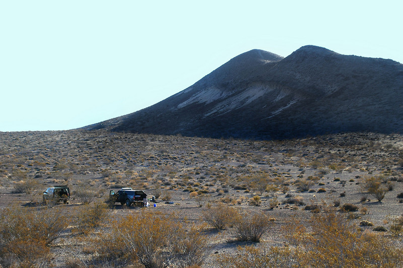 View of Opal Mountain and our camp site. Robin and Sooz hiked to it's peak in the morning.