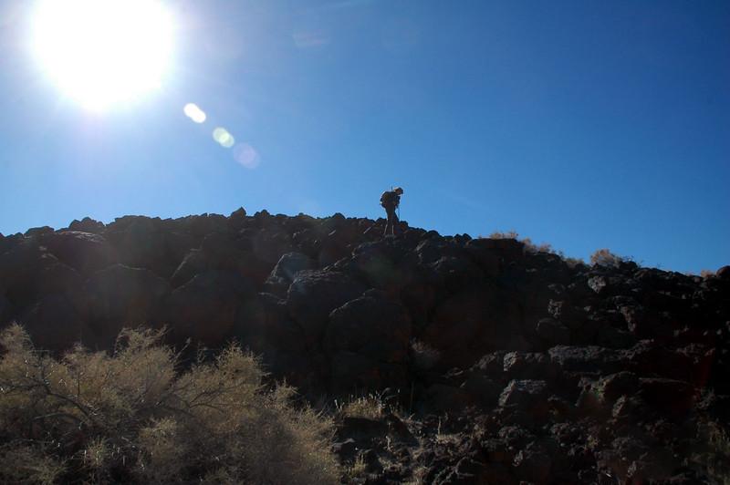 Sooz starting down off the peak.