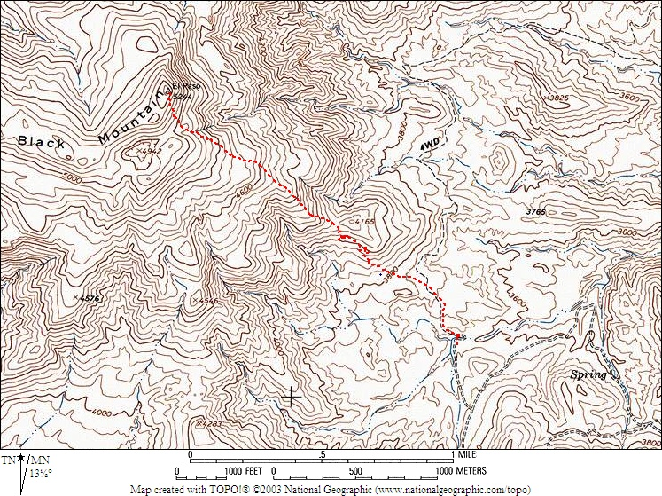Topo map showing the route we used for Black Mountain. <br /> <br /> THE END