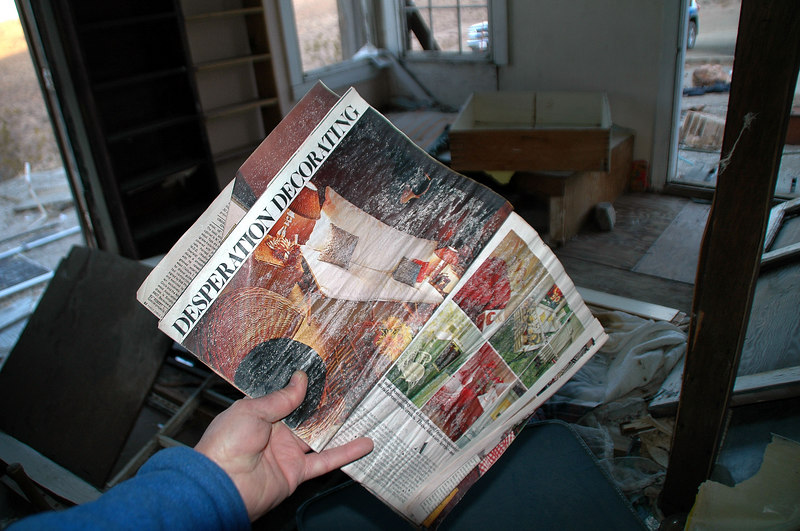 This magazine was in one of the cabins. The inside of the cabins were a mess.