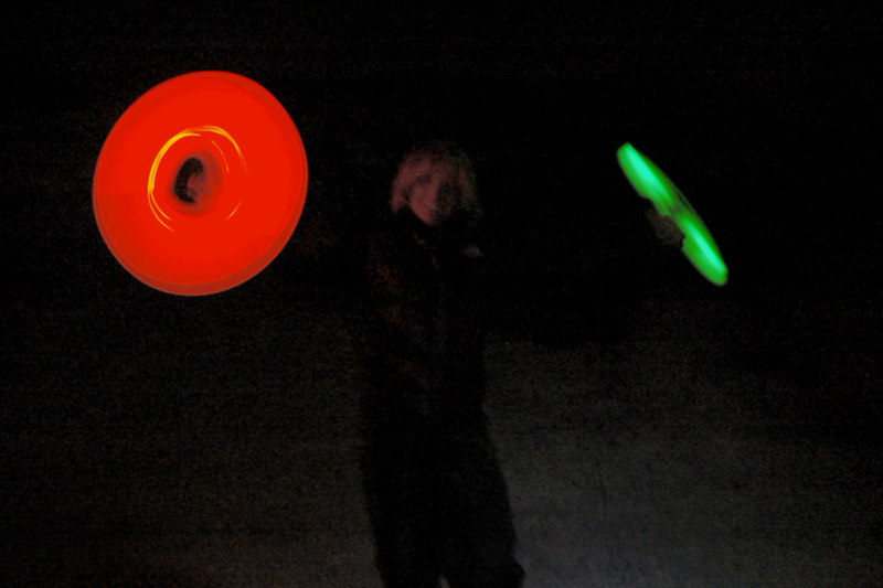 Sooz spinning light sticks that we had setup by the road to mark the campsite for Cori and Tom.