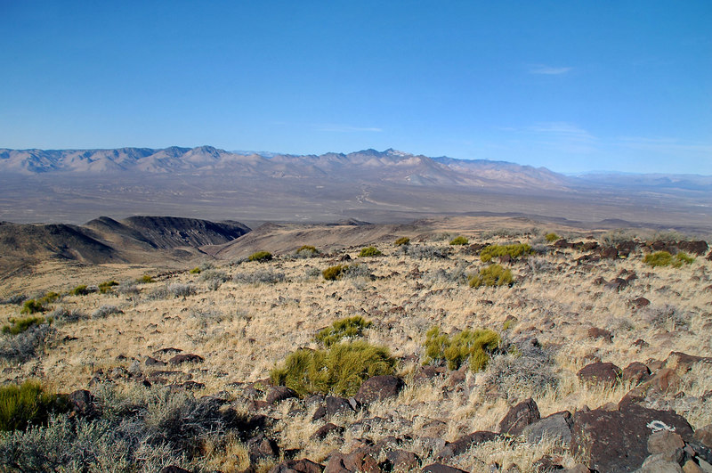 Looking towards the northwest at Owens Peak in the distance.