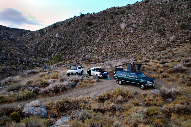 A view of our campsite at the Astro Artz Cabin the next morning. This site is at the start of the Centennial Canyon in the Coso Range.