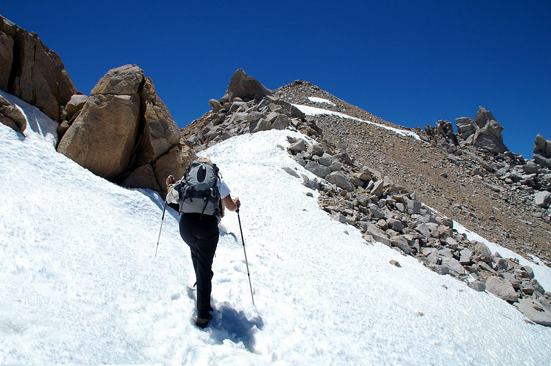 After climbing back up to the ridge, we crossed this patch of snow.