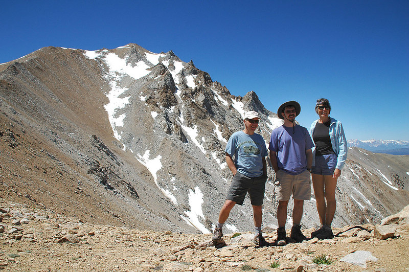 Mike, Ted & Cindy from Nevada on the 2nd saddle with Boundary Peak. They are looking towards Sooz who is taking a photo of them with their camera.
