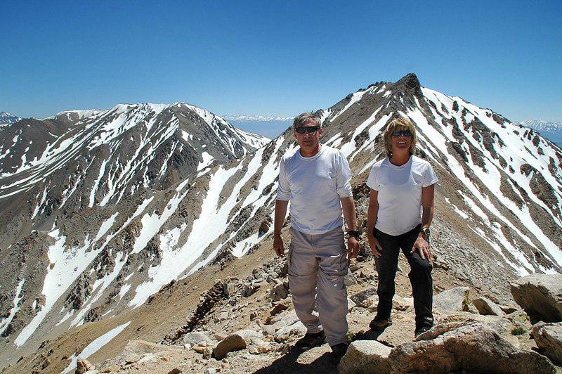 On Boundary Peak 13,140' with Montgomery Peak behind us.