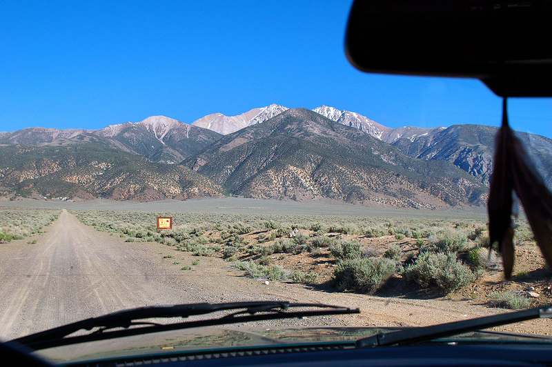 Couple of miles into Nevada, we turned on to the road that leads to the trailhead.