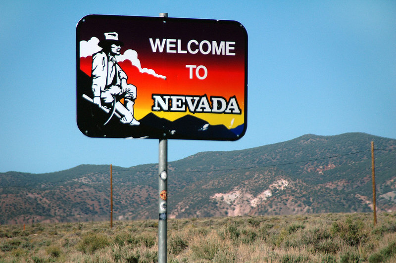 Cool looking sign as we cross the state line into Nevada.